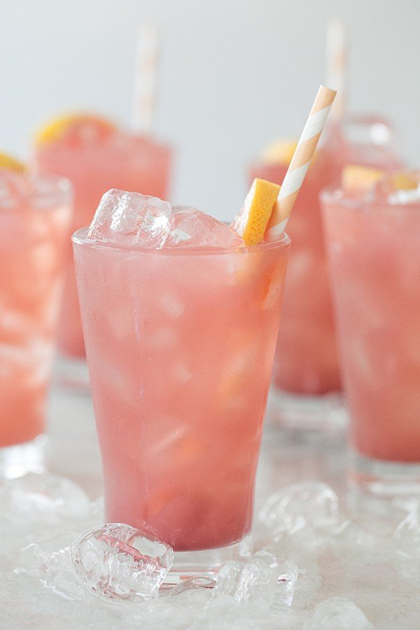 shot of pink summer drink in a glass