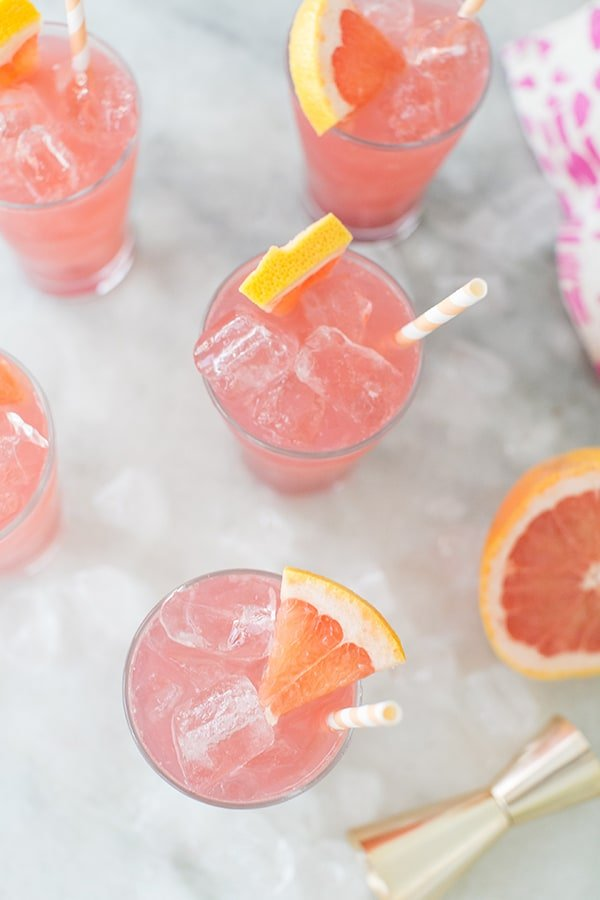 overhead shot of grapefruit cocktail