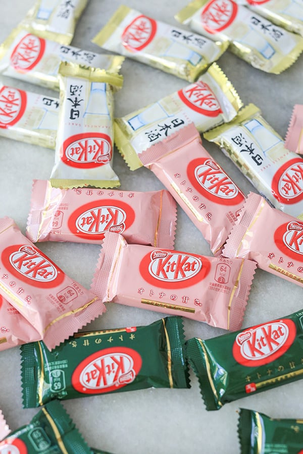 Different flavors of Kit Kats from Japan.