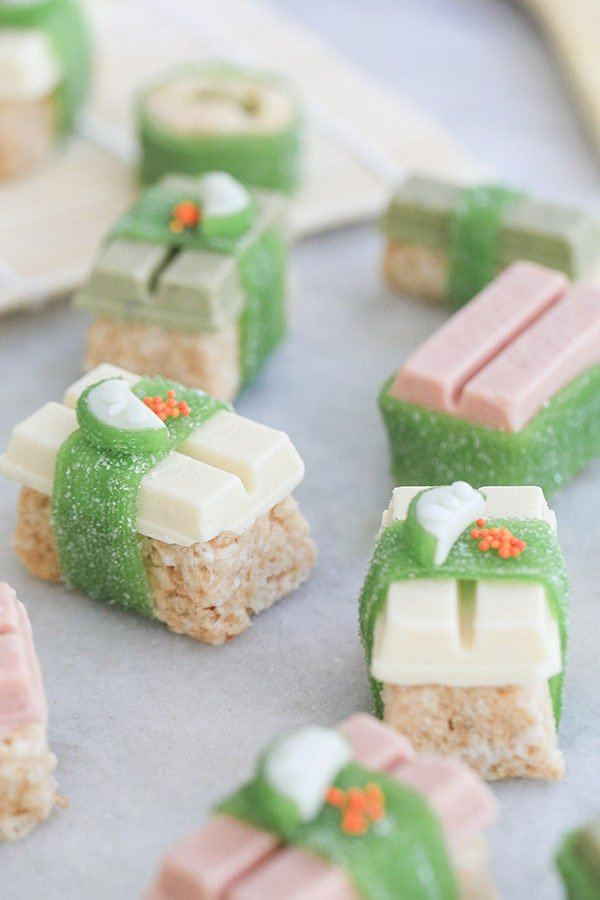 Candy sushi with Kit Kats and little fruit.