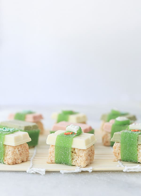 Rice Krispies with kit kats over the top can seaweed to make candy sushi