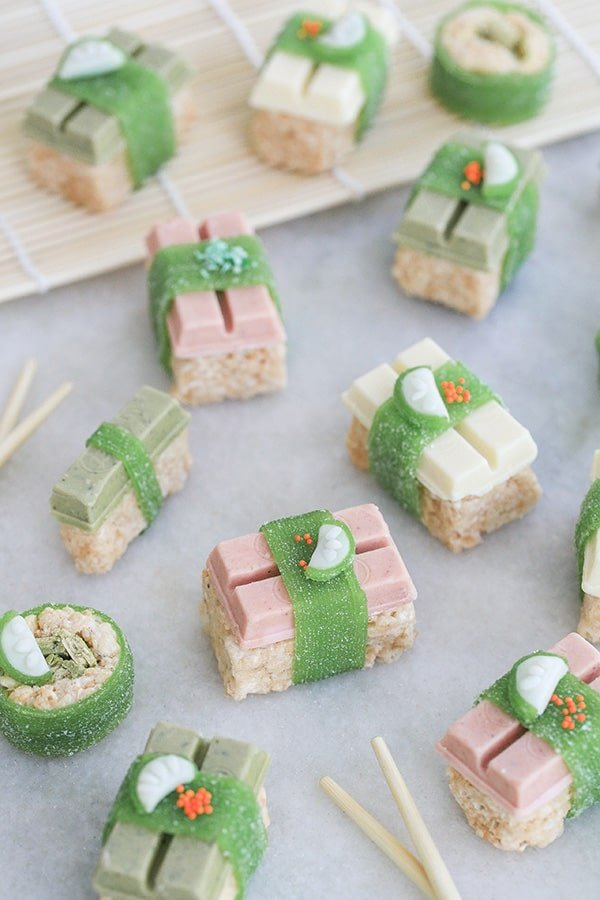 Candy sushi on a marble platter