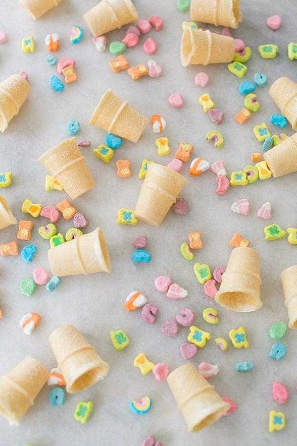 Top down shot of mini ice cream cones