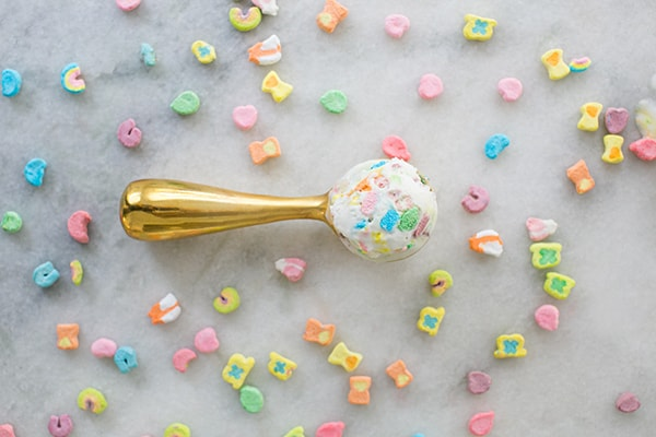 Top down shot of Lucky Charm Ice Cream in a scoop