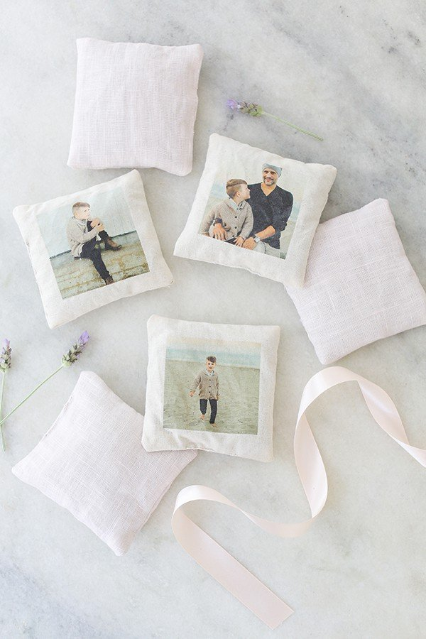 DIY Lavender Sachets with Photos printed on them.