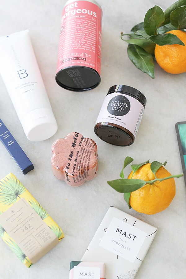 clean beauty items and mast chocolate