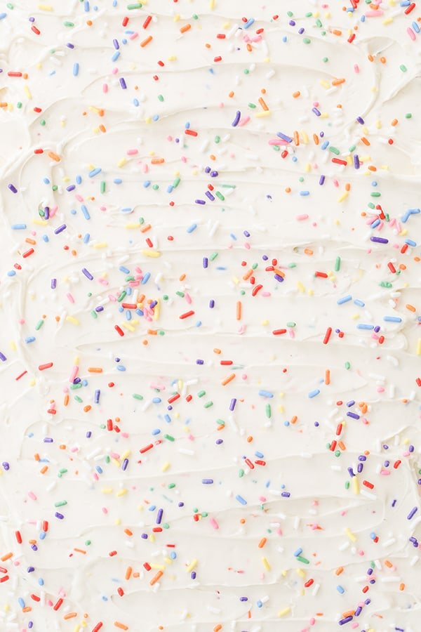 top down shot of icing with sprinkles