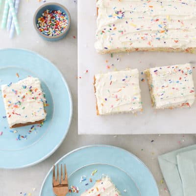 Homemade Funfetti Sprinkle Sheet Cake
