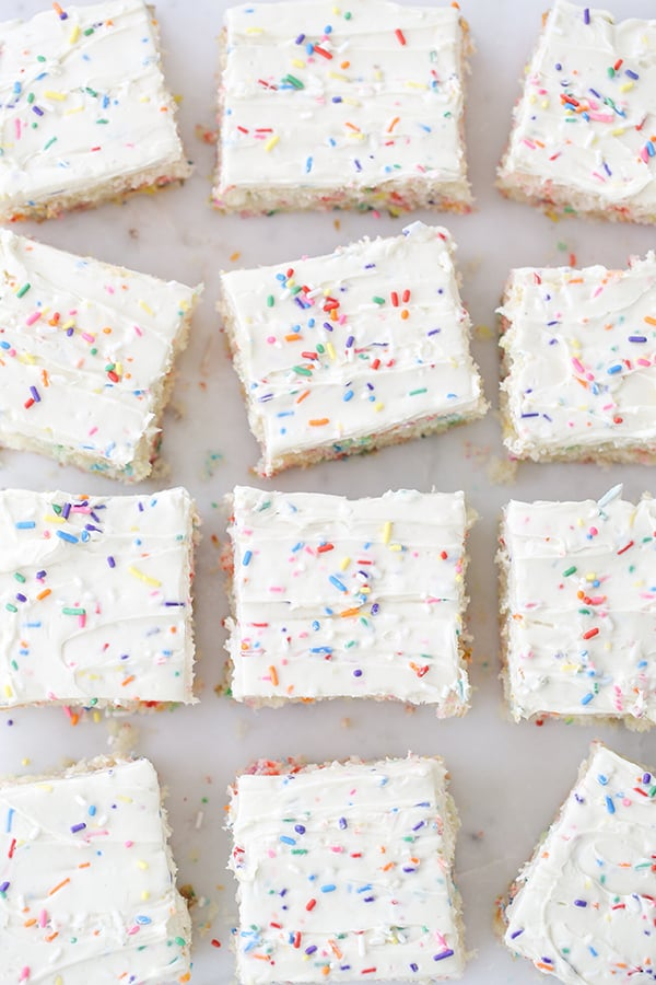 top down shot of squares of cake