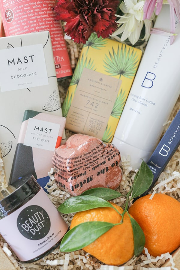 Mother's Day beauty box with Beauty Counter, bath bomb, beauty dust and Mast chocolate