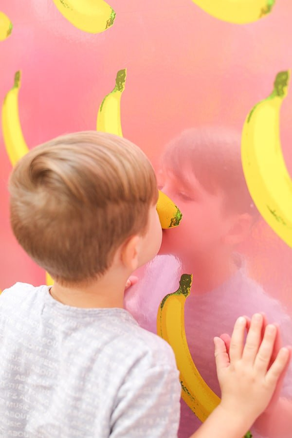 Little boy smelling scratch and sniff wall paper.