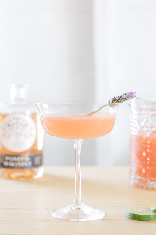 Floral cocktail with Pomp & Whimsy and lavender.