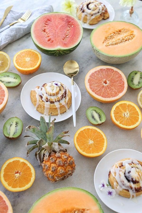 Fruit sliced on a table