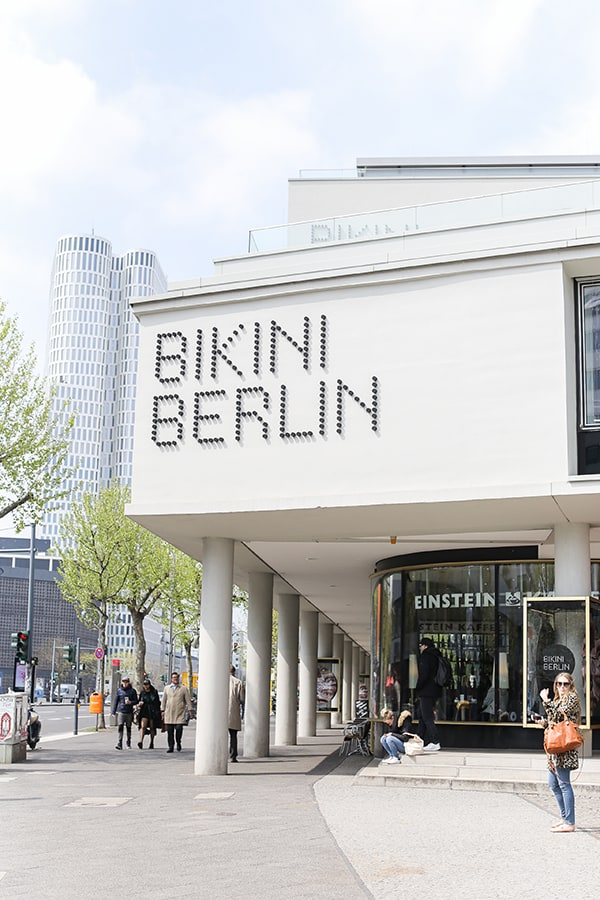 Bikini Berlin sign outside a white building