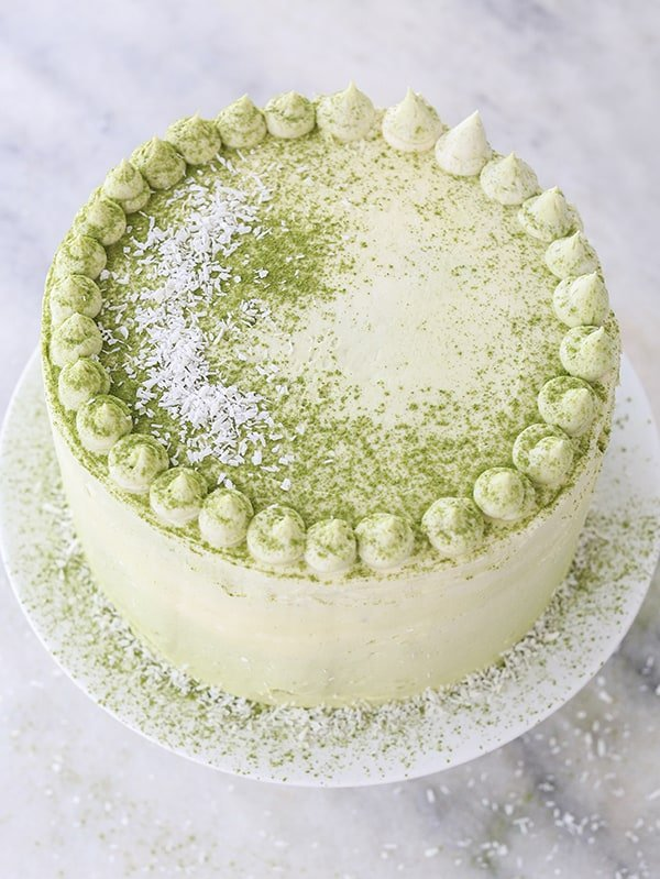 matcha cake with coconut