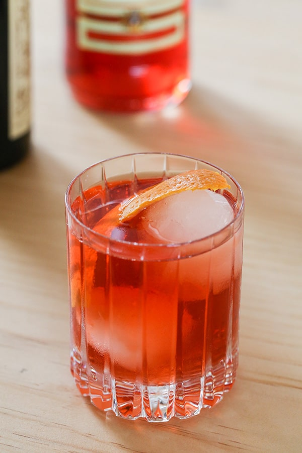 top down shot of classic negroni cocktail