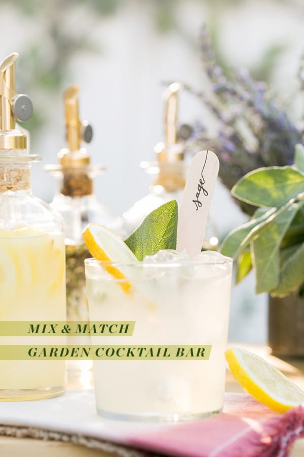 Cocktail with garden stick and text overlay.