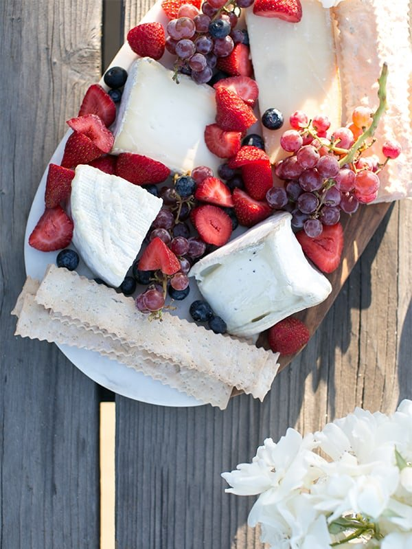 Red and blue cheese platter.