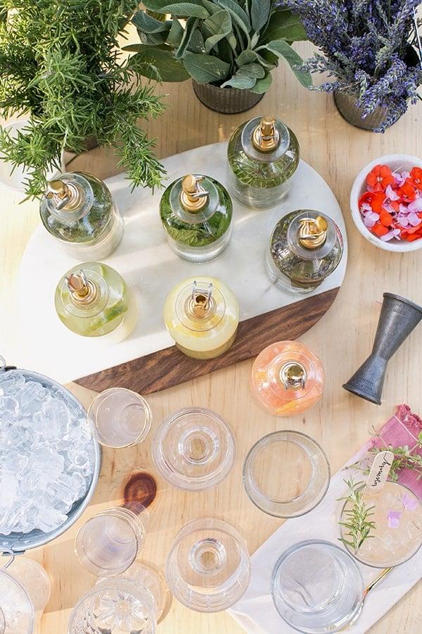 Garden cocktail bar ingredients