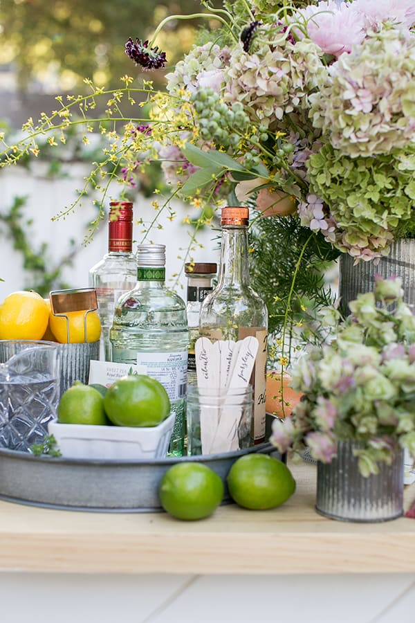 Garden cocktail ingredients, limes, garden sticks, spirits and flowers on an outdoor bar.