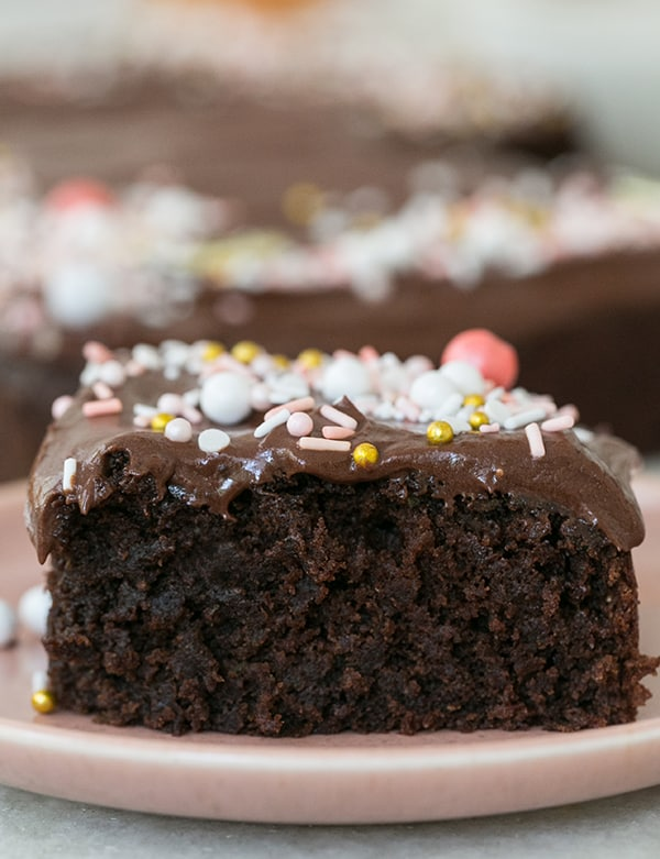 Chocolate Cake with chocolate buttercream frosting and sprinkles.