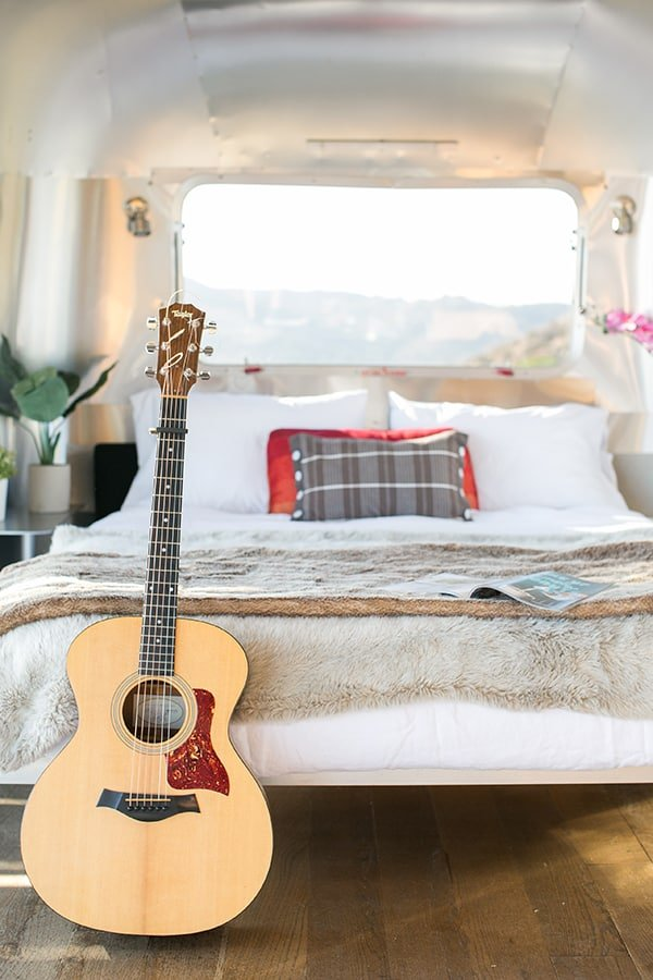 Bed in a converted Airstream.