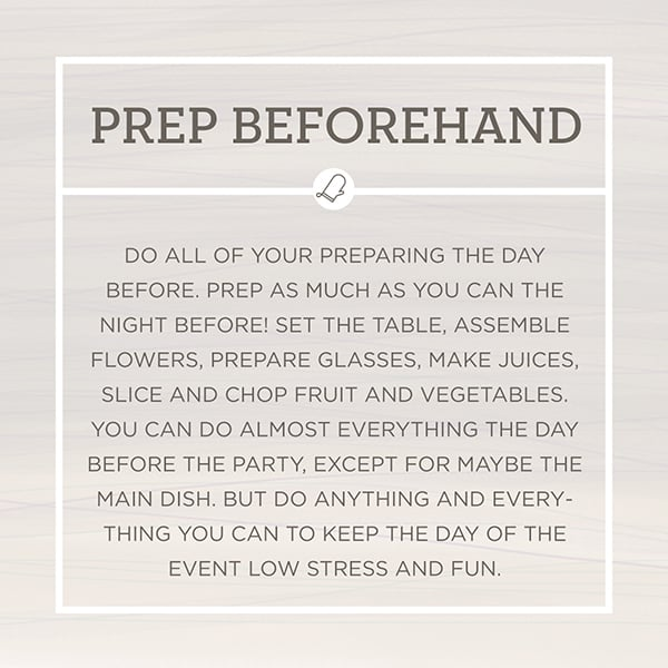 Entertaining Tips graphic for hosting a party. This is about prepping beforehand.