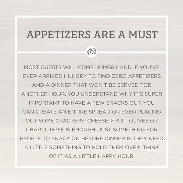 Appetizers are a must entertaining tip graphic.