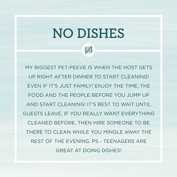 Text graphic about not doing dishes during a party.