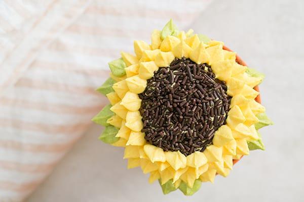 overhead of a Pumpkin Spice Sunflower Cupcakes