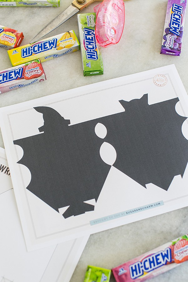 Witch template for Halloween candy