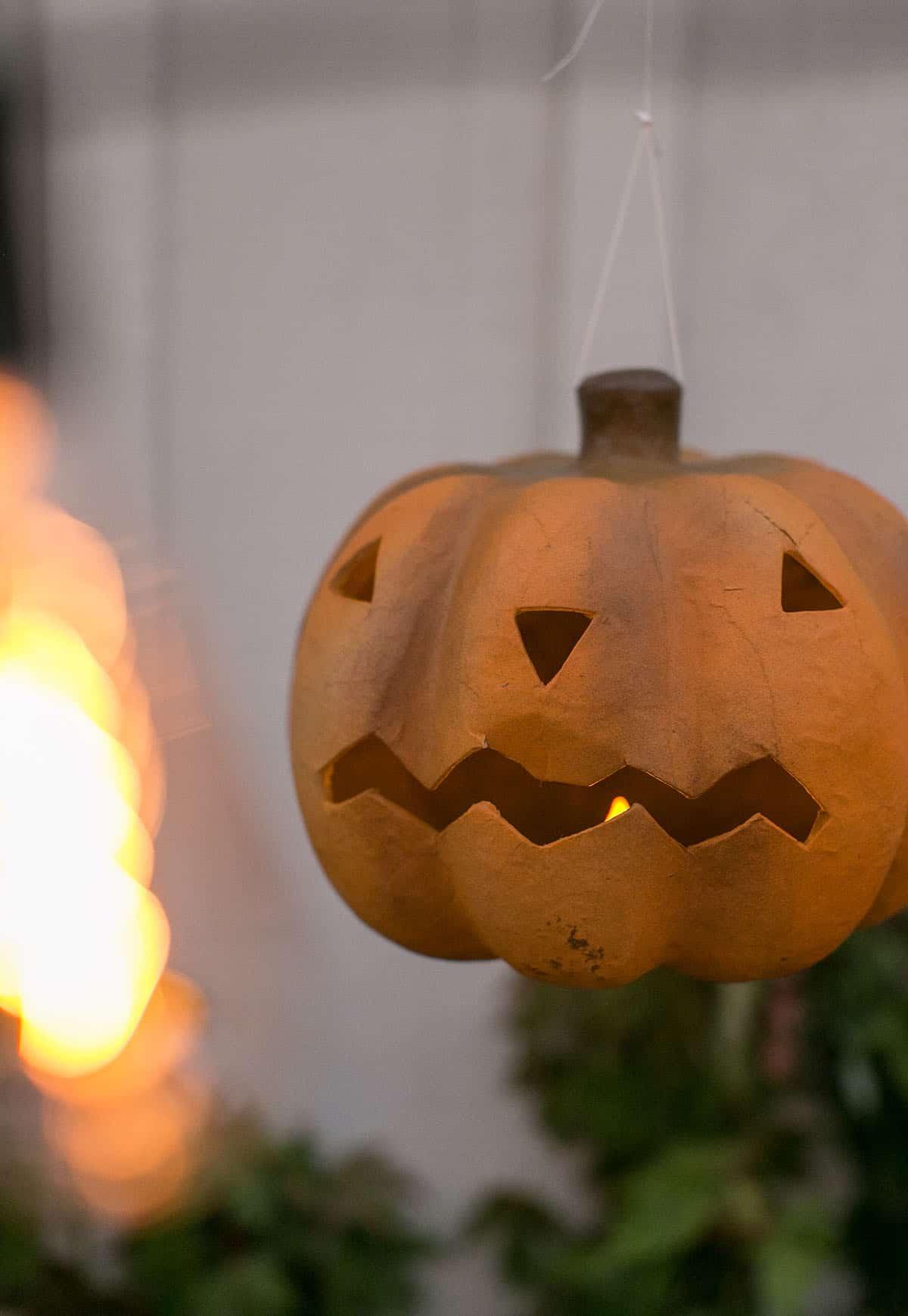 lit up hanging pumpkin