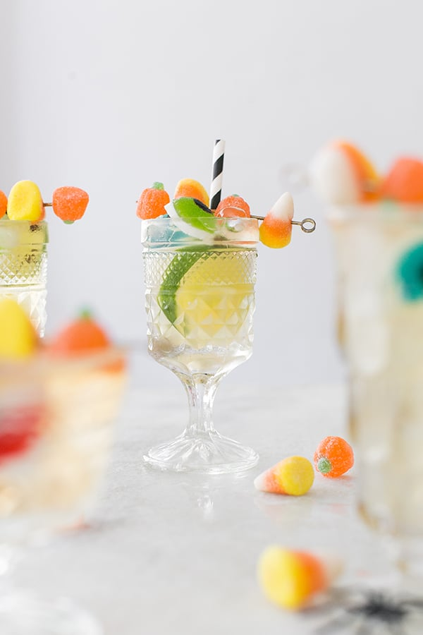 side shot of cocktails