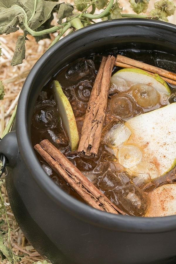 shot of cider punch in a cauldren
