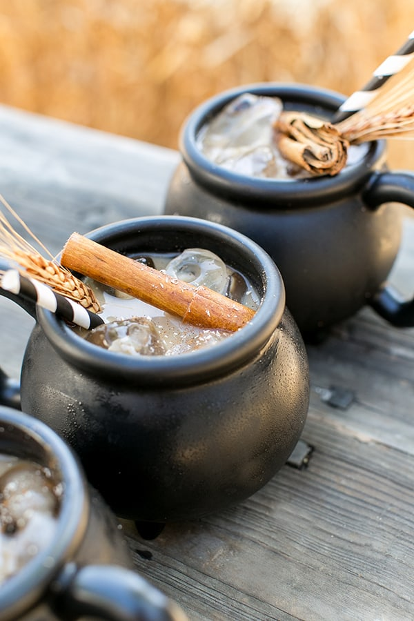 close up shot of black cauldron mugs with cinnamon sticks