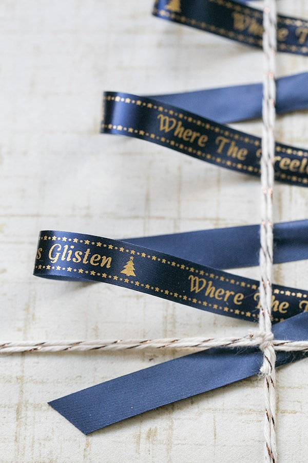 Close up photo of the blue ribbon with gold writing.