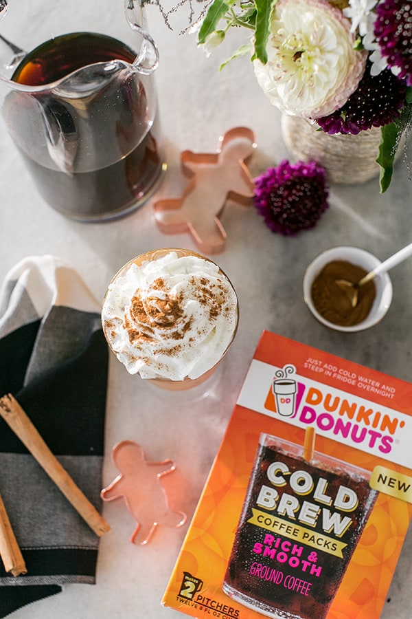 Gingerbread Cold Brew Latté with dunkin' donuts cold brew coffee.