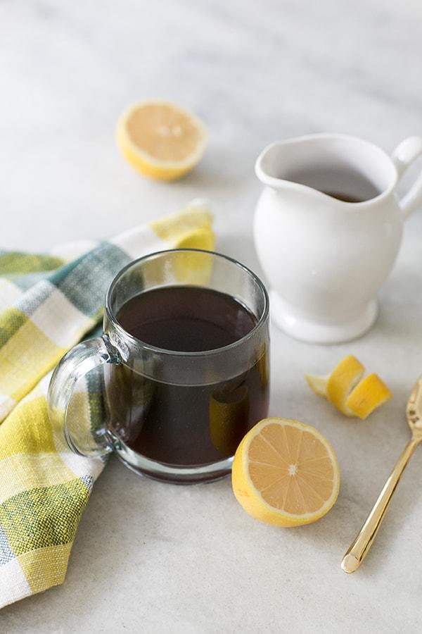 side shot of mug of hazelnut coffee