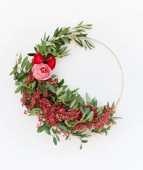 Gold ring with pink flowers for a holiday wreath