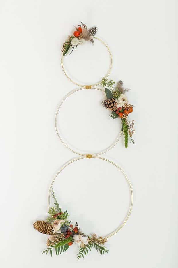three gold hoops for a modern snowman wreath