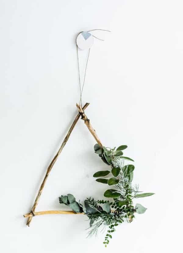 triangle wreath with greenery