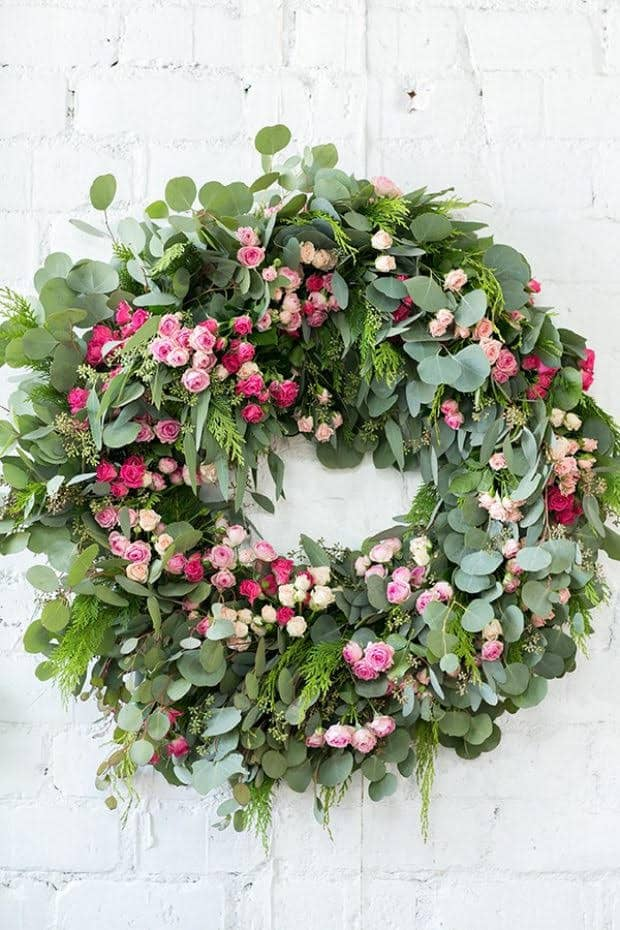 Giant green wreath with pink flowers