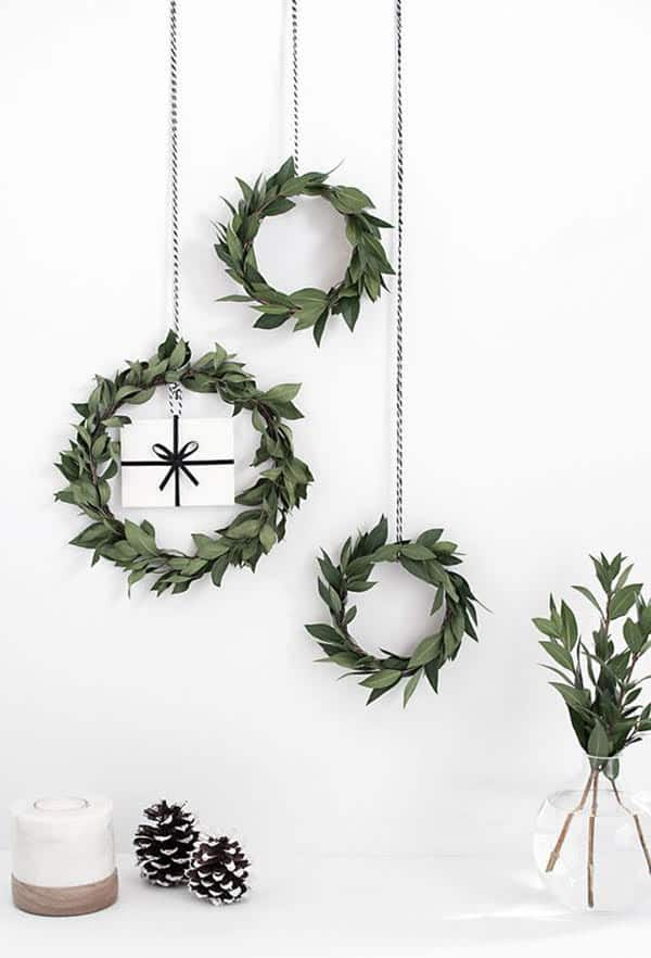 small wreaths hung on a wall