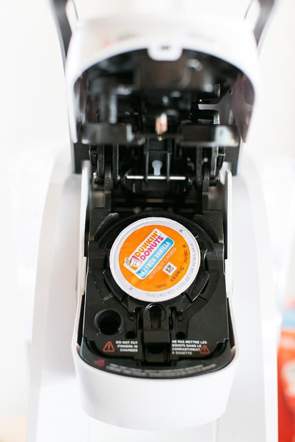 k cup inside a Keurig machine