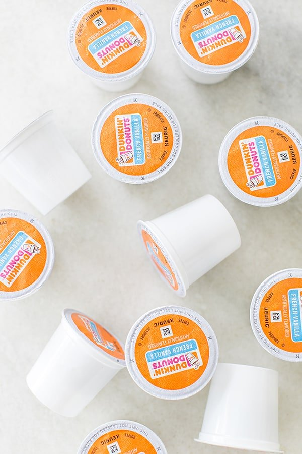 Dunkin' Donuts K Cups on marble table