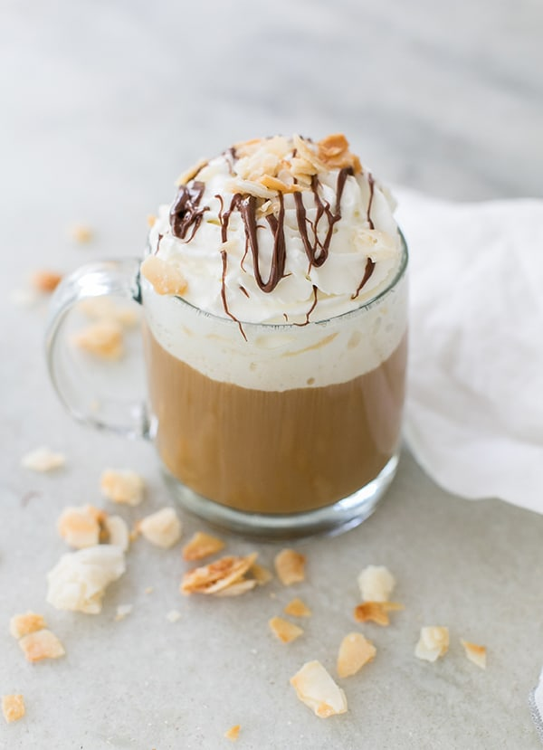 almond joy coffee with whipped cream and chocolate syrup.