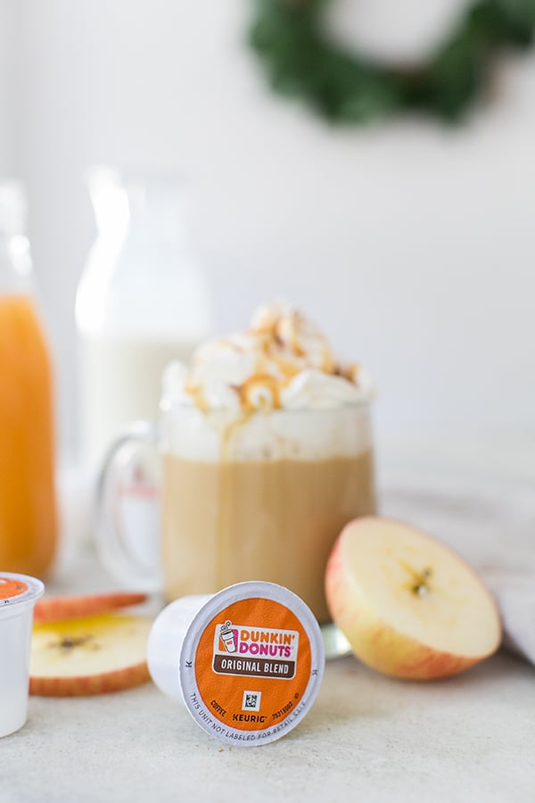 Apple pie coffee made with Dunkin Donuts pods