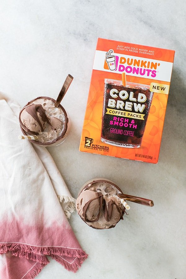 Dunkin Donuts cold brew coffee and two coffee floats.