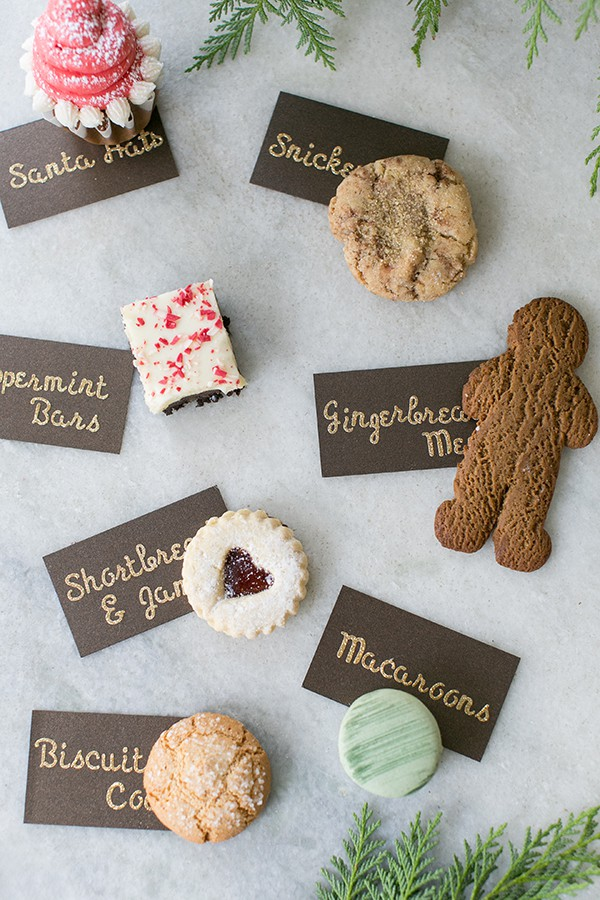 top down shot of cookies with name tags