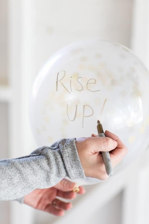 creative gift ideas - eden writing on a balloon